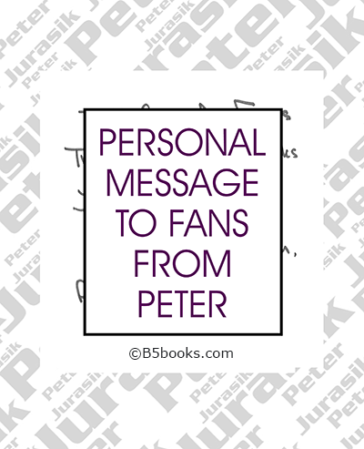 Page sample showing personal message from Peter Jurasik