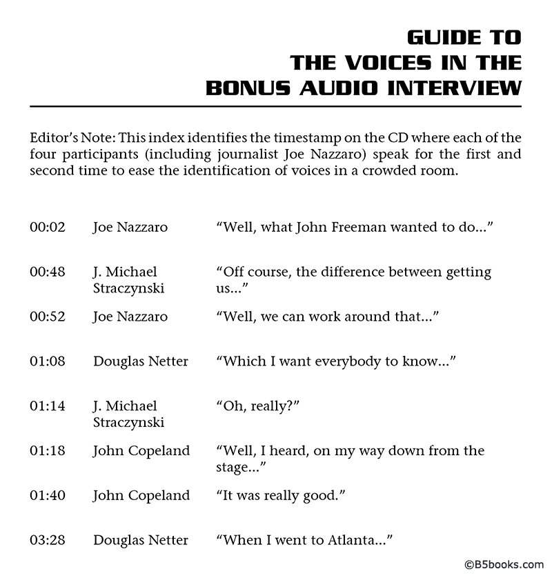 Guide to the Voices in the Volume 5 CD Audio Interview