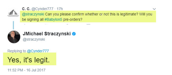 J. Michael Straczynski confirming that he is signing all pre-orders
