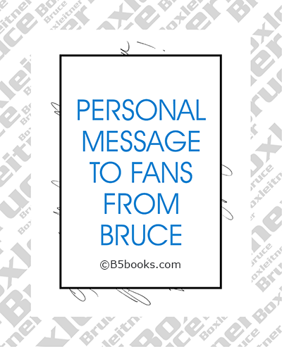 Page sample showing personal message from Bruce Boxleitner