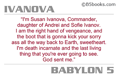 Postcard with Ivanova quote selected by Claudia Christian