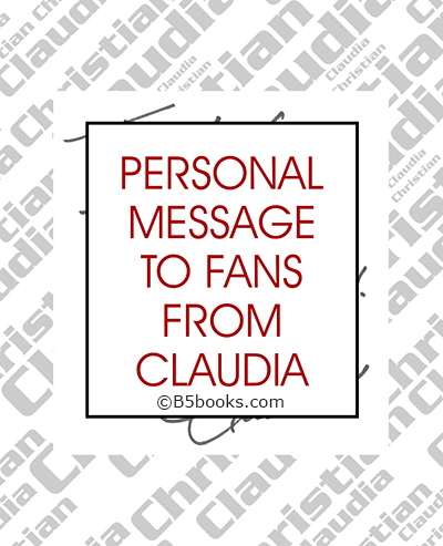 Page sample showing personal message from Claudia Christian